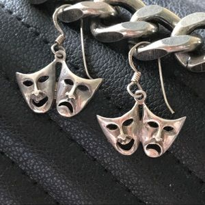 Comedy tragedy theater acting mask silver earrings